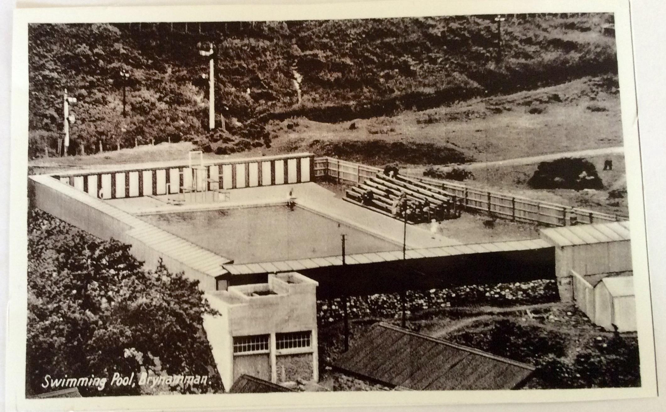 Brynamman pool postcard 1930s 2